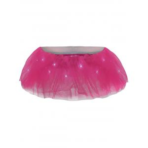 Tier Mesh Light Up Tutu Cosplay Skirt - Deep Pink - One Size