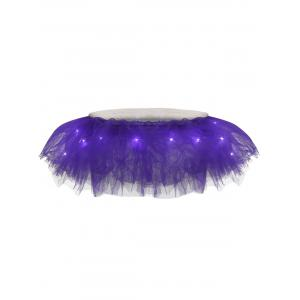 Tier Mesh Light Up Tutu Cosplay Skirt - Purple - One Size