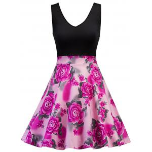 Sleeveless Floral Print Vintage Dress - Tutti Frutti - S