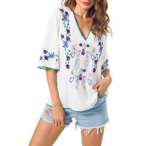 Embroidered V Neck Peasant Blouse - White - Xl