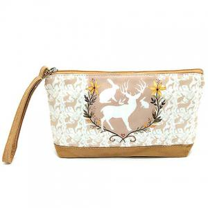 Suede Panel Cartoon Print Wristlet
