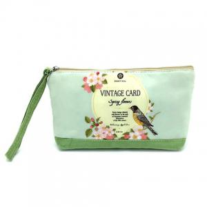 Suede Panel Cartoon Print Wristlet - Grass Green