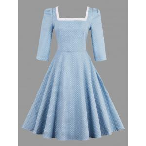Polka Dot Lace Up Vintage Plus Size Dress - Light Blue - 4xl