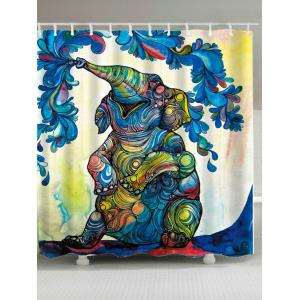 Waterproof Elephant Floral Fabric Shower Curtain