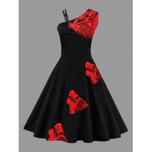 A Line Sleeveless Butterfly Embroidered Plus Size Dress - Red - 4xl
