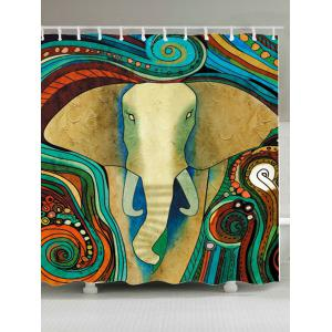 Extra Long Tribe Elephant Fabric Shower Curtain - Colorful - W71 Inch * L79 Inch