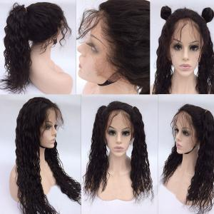 Free Part Long Natural Wave Lace Front Human Hair Wig - Natural Black