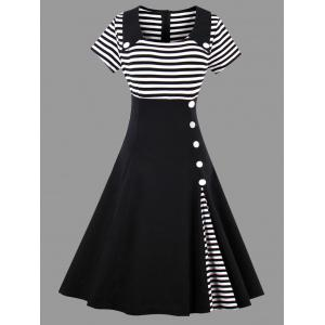 Striped Midi Plus Size Vintage Skater Dress