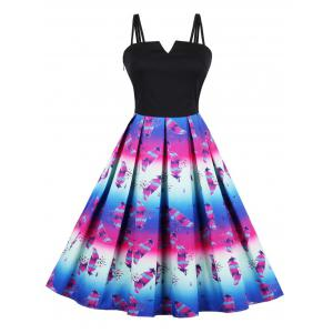 Plus Size Feather Print A Line Midi Dress