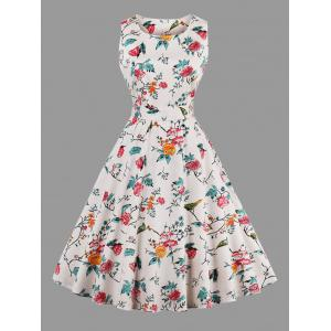 Sleeveless A Line Floral Plus Size Dress - Off-white - 3xl