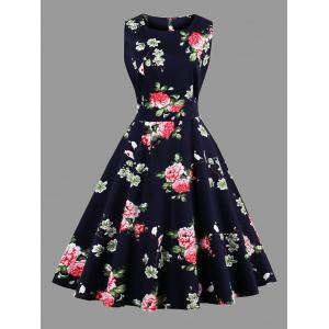 Plus Size Sleeveless Floral Tea Length Dress