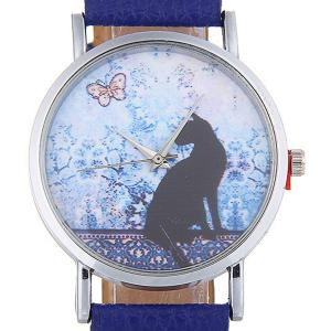 Cat Face Faux Leather Strap Quartz Watch - Bleu