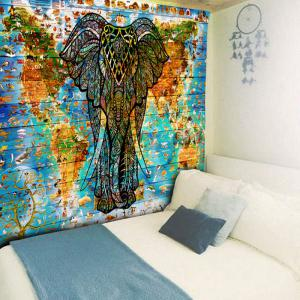 World Map Wall Hanging blue w59 inch * l79 inch elephant wall hanging world map tapestry