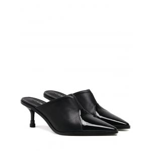 Pointed Toe Faux Leather Slippers - Black - 39