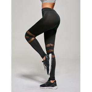 Tight Mesh Panel Leggings - BLACK S
