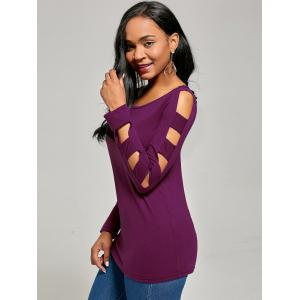 Elegant Scoop Neck Solid Color Cut Out T-Shirt For Women - PURPLISH RED XL