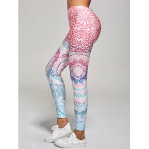 High Waisted Ankle Length Floral Print Leggings - MULTI L