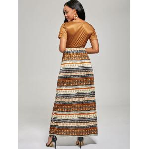 Floor Length A Line Boho Dress - BROWN L