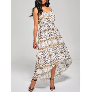 Print High Waist Slip High Low Dress - Colormix - Xl