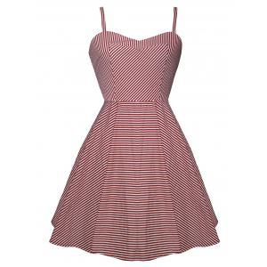 Vintage Spaghetti Strap High Low Striped Dress - Red With White - 2xl