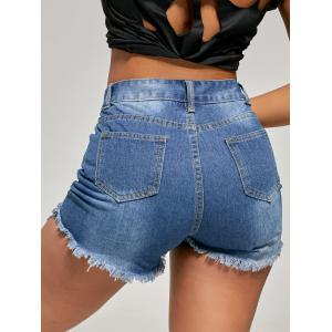 Slim skinny raspé en mini-denim -