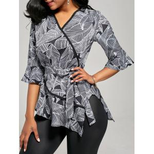 Leaf Print V Neck Bell Sleeve Blouse