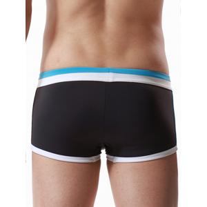 Drawstring Color Block Panel Pouch Swimming Trunks - AZURE M