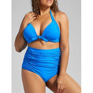 Halter Vintage High Waist Plus Size Bikini Swimwear - Blue - 3xl