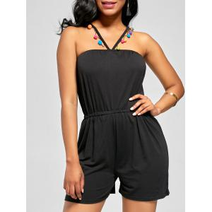 Sleeveless Halter Blouson Romper with Pompon Embellished