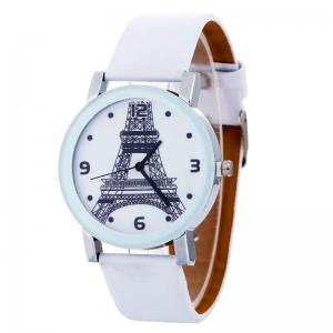 Faux Leather Quartz Watch With Effiel Tower Face
