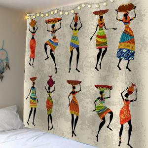 African Girl Print Waterproof Wall Hanging Tapestry - Colorful - W59 Inch * L59 Inch