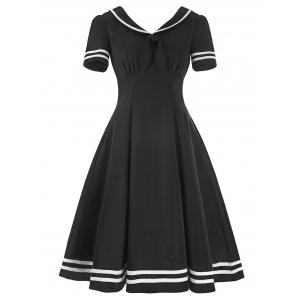 Sailor Collar High Waist Vintage Dress - Black - 2xl