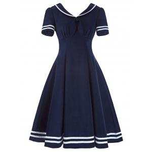 Sailor Collar High Waist Vintage Dress