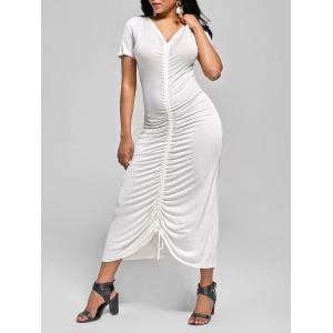 Ruched V Neck Long Fitted Tee Dress - Off-white - 2xl