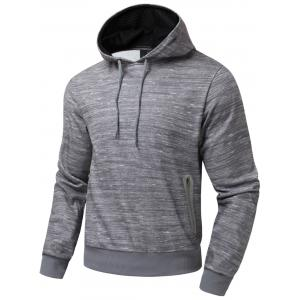Polar Fleece Side Zip Pocket Design Pullover Hoodie - Heather Gray - S