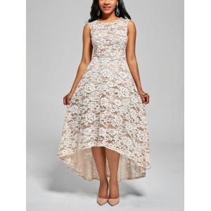 Floral High Low A Line Cocktail Dress - White - L
