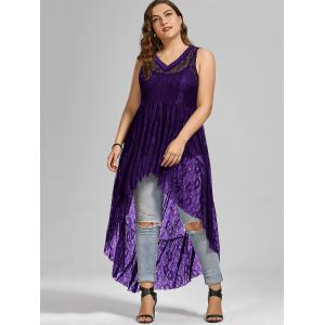 See Through Lace High Low Plus Size Top - PURPLE 5XL