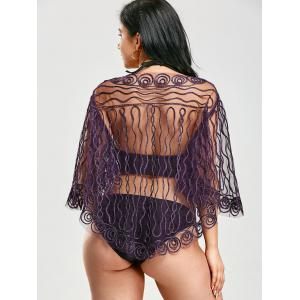 Rope Embellished Sheer Beach Lace Cover Up - PURPLE ONE SIZE