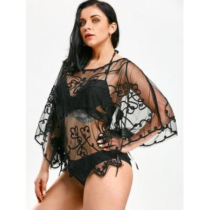 Retro Wave Cut Lace Beach Cover Up -