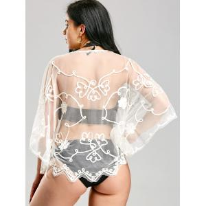 Retro Wave Cut Lace Beach Cover Up - WHITE ONE SIZE