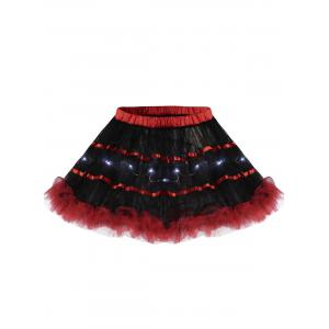 Tier Light Up Color Block Tutu Cosplay Jupe - Rouge TAILLE MOYENNE