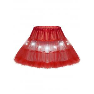 Light Up Ruffles Tutu Voile Cosplay Jupe - Rouge TAILLE MOYENNE