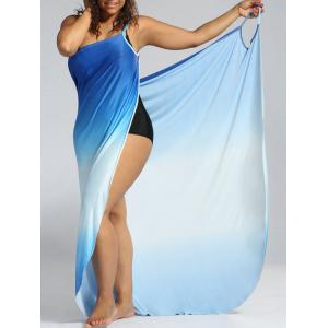 Plus Size Ombre Wrap Cover Up Maxi Dress - Blue - 5xl