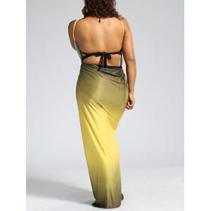 Plus Size Ombre Wrap Cover Up Maxi Dress - YELLOW XL