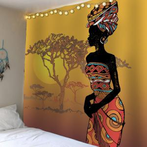 Home Decor African Girl Tree Sunset Waterproof Tapestry - Colorful - W79 Inch * L71 Inch