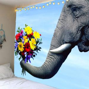 Home Decor Elephant and Flower Print Wall Hanging Tapestry