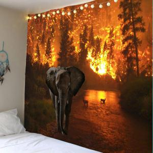 Home Decor Elephant Fire Forest Wall Tapestry