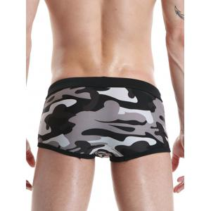 Camouflage Drawstring Convex Pouch Swimming Trunks -