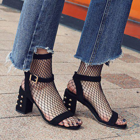 Store Studded Chunky Heel Two-Piece Sandals BLACK 37