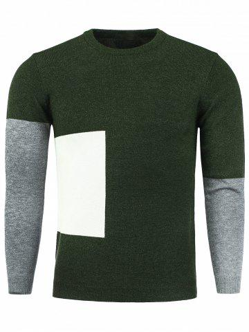 Color Block Panel Crew Neck Knitting Sweater - Army Green - L